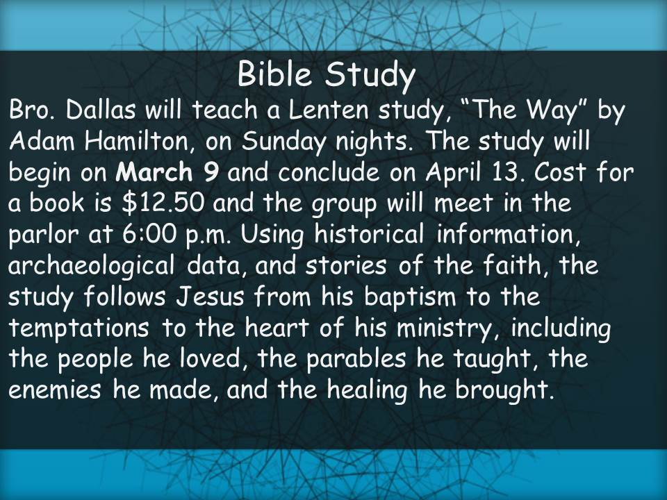 Lenten Bible Study March 9, 2014